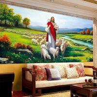 Wholesale Japan Tv Home - Christian Jesus painting style living room bedroom TV background wallpaper 3D mural wallpaper Home Decor Wallpaper