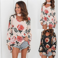 Wholesale Tee Shirts Fur - Long Sleeve Floral T Shirt Women 2017 Sexy V Neck Spring and Autumn Halter Loose Tops Tee Shirt Female Casual T-shirt DHL NX170909