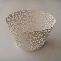 Wholesale cupcakes wrappers - Promotion free shipping 120pcs White Vine filigree Laser cut Lace Cup Cake Wrapper Cupcake Wrapper FOR Wedding christmas Party Decoration