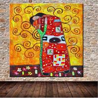 pinturas de óleo do óleo de klimt de gustavo venda por atacado-Sem pintura 100% Pintados À Mão Gustav Klimt Famosa Pintura A Óleo Pinturas de Arte Moderna Abstrato Da Arte Da Parede Decoração Da Sua Casa