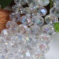 kristall edelstein lose perlen großhandel-1000 STÜCKE Perle großhandel 4x6mm Whit AB Swarovski Kristall Edelstein Lose weiße Perlen perle