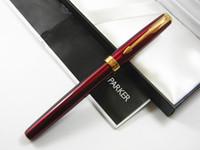 Wholesale Golden Trims - Parker Sonnet Red Lacquer With Golden Trim M Nib Fountain Pen
