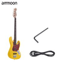 Wholesale Wood Fretboards - Wholesale- ammoon Solid Wood 4 String JB Electric Bass Guitar Basswood Body Rosewood Fretboard 21 Frets with 6.35mm Cable