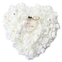 Wholesale Wedding Ring Bearer Box - Heart-shape Rose Flowers Ring Box Romantic Wedding Jewelry Case Ring Bearer Pillow Cushion Holder Valentine's Day Gift
