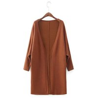Wholesale Korean Batwing Fashion - Loose Knitting Cardigans Women's Sweater Coats 2017 Autumn and Winter New Korean Batwing Sleeve V-Neck Solid Cardigan Feminino