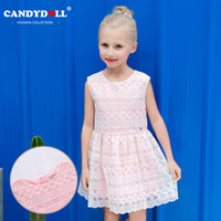 Wholesale Embroider Baby Dress - Baby Girls Dress Pink Brand Spring Summer Embroider Princess Sleevess Lace Dresses for Girls Vintage Toddler Girl Clothing 3-10Yrs