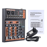 línea de alimentación de audio al por mayor-Freeshipping Portable 4-Channel Mic Line Mezclador de audio Consola de mezclas Interfaz de 3 bandas EQ USB 48V Phantom Power con Adaptador de corriente