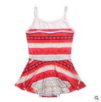 Wholesale Girls Swimdress - Cartoon Moana Princess One Piece Girls Swimwear 2017 Summer Cotton Swimsuit Dress Beach Wear Clothes Swimdress Bathing Suit Swimwear 606