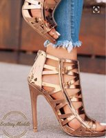 Wholesale Cut Up Prom Dresses - 11cm Sexy champagne gold hollow out high heel peep toe ankle bootie prom gown dress shoes size 35 to 40