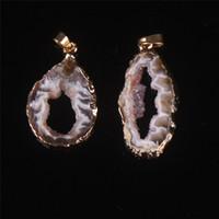 Wholesale Agate Druzy Geode Pendant Bead - Nature Agate Pendant Druzy Geode Rock Beads Silver Gold Plated Agate Geode Slice Stalactite Pendant Black Yellow Crystal Gemstone Pendant