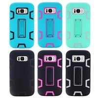 Wholesale Galaxy Triple Case - 100pcs For Samsung Galaxy S8 S8 Plus 3 in 1 triple layer High Impact Case Hard Combo Soft Silicone TPU Case Cover