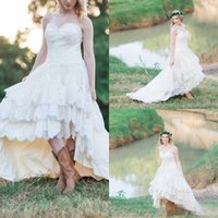 Wholesale Western Lace Dresses Cheap - 2017 Western Country Lace High Low Wedding Dresses Cheap Sweetheart Lace Up Back Tiered Bridal Gowns Plus Size Custom Made