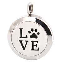 Wholesale Aromatherapy Dogs - 10pcs Dog Palm 25mm Aromatherapy Essential Oil surgical Stainless Steel Necklace Perfume Diffuser Locket Include chains And 100pcs Felt Pads
