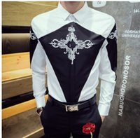 Wholesale Korean Shirt Shop - 2017 new European and American tide male hair stylist night shop Korean version of the fight color embroidery Slim long-sleeved shirt shirt