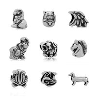 Wholesale Wholesale Fortune Cat - comejewelryLion,Fortune cat,Eagle,Elephant,Unicorn Animals Stainless Steel Beads Fit Pandora European Style Bracelet DIY Jewelry Accessories