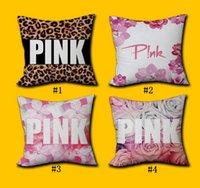 Wholesale Leopard Print Pillowcase - Pink Pillow Cover VS Leopard Flower Home Office Decor Cushion Cover Decorative Pillowcase Double sided Printing Pillow Case 8 Styles OOA1391