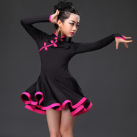 Wholesale Girls Latin Dance Dresses - 2016 New Child Latin Dance Dress Ice Silk Cheongsam Buttons Ruffle Skirt Black Red Blue Kids Dancewear Latin Dancing Dress Girls DQ4059