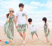 Wholesale Bohemia Shirt - Bohemia Style Couple Clothes Mother Daughter Matching Dress Summer Fashoin Casual Family Look Father And Son Suit T Shirt-F116
