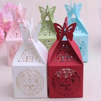 Wholesale Butterfly Laser Box - 100 PCS butterfly card buckle hollow laser gift bag of 5.5 * 5.5 cm boxes of Chinese style and joyful candy box