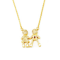 Wholesale Twin Lovely - Wholesale 10Pcs lot 2017 Fashion Luxury Jewelry Pendant CZ Lovely Boy And Girl Twins Gold Chains Crystal Necklace Mother's Day Gifts