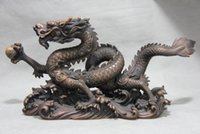 dragón de bronce de china al por mayor-Chino Fine Pure Red Bronze Copper fengshui Auspicioso Dragon Play Bead Statue