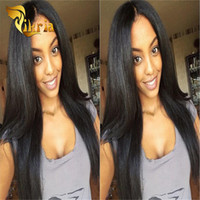 Wholesale human front hair weave for sale - Brazilian Virgin Human Hair Full Lace Wigs Malaysian Indian Straight Weaves Lace Front Wigs Medium Cap Density Human Hair Lace Wigs