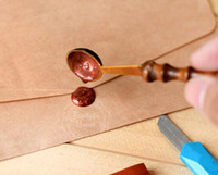 Wholesale Metal Stamp Sealing Wax - New Arrive Quality Wax Stamp Sealing Wax Spoon Vintage Wood Handle Sealing Wax Spoon Anti Hot Wax Spoon