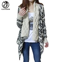 Wholesale Europe Long Ponchos - Wholesale-YEJIA FASHION 2016 Autumn Winter Cardigan Women Europe and America Cardigans Loose Casual Sweater Female Ponchos and Capes Coat