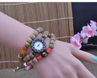Wholesale Onyx Watches - women fashion watches DIY Six words mantra onyx female watches personality elastic rope retro coconut wood Bodhi Buddha beads bracelet watch