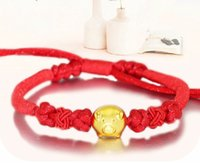 Wholesale Chinese Zodiac Animal Charms - New Arrival Red Colour String 999 3D 24K Yellow gold 12 Chinese Zodiac Pig Bracelet