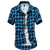 Wholesale Multicolor Mens Shirt - Wholesale- Multicolor Plaid Shirt Spring Men Camisas Blue Shirt Autumn Chemise Mens Topstitching Shirts Short Sleeve Casual Grid Shirt B004