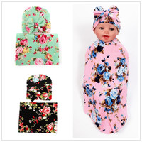 Wholesale Infant Sleep Caps - INS Newborn Baby Swaddle Wrap Blanket Hat Set Infant Flower Floral Swaddle Soft Cotton Sleep Sack Wrap Cloth With Bow Cap Hats BHB15