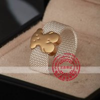 Wholesale china gift retail for sale - 2017 hot sale Retail and stainless steel classis model Reticulate animal ring silver mix gold color bear model