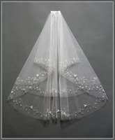 Wholesale-2015 Real Foto bianco avorio Wedding Veil breve con il pettine in rilievo Mantilla Bridal Veil Accessori sposa Veu De Noiva MD3041