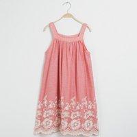 Wholesale Lace Sundress Spaghetti Strap - Big Girls Dress Summer Flower Embroidered Spaghetti Strap Dress Europe Style Ruffle Children Casual Dress Kids Sundress C741