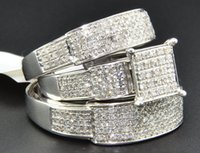 Diamond Trio Set Matching Fidanzamento Ring 10K White Gold Wedding Band 0,96 Ct.