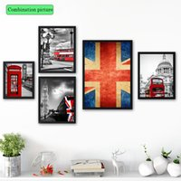 Wholesale Wallpaper Abstract Oil Paintings - 4 paintings Nordic home decoration UK street view wallpaper home decoration layout room interior decoration