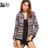 Wholesale Collarless Womens Coats - Wholesale- SheIn Womens Autumn Jackets and Coats Multicolor Tribal Pattern Collarless Long Sleeve Zipper Up Vintage Jacket