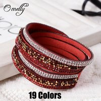 Wholesale Cheap Gift Wrapping - 19 Colors Crystal Rhinestone Bracelets Slake Bracelet Wristbands Leather Wrap Bracelet Hand Made Bands Leather Cheap Jewelry