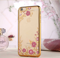 Wholesale Luxury Garden Wholesale - FOR IPHONE 4 5S 6 6S 6 PLUS 7 7 PLUS Galaxy s8 Luxury Bling Diamond Electroplate Frame Soft TPU Case Secret Garden Flower Clear Cover 100pcs