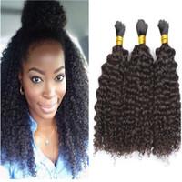 brezilya kinky afro kıvırcık siyah saç toptan satış-8A Işlenmemiş Brezilyalı Afro Kinky Kıvırcık İnsan Örgü Saç 3 adet lot Için Hiçbir Atkı Toplu Saç Afrika Amerikan Doğal Siyah Saç