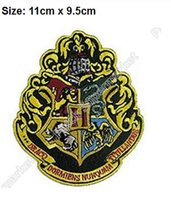 """Wholesale Wholesale School Shirts - 4.5"""" Large Harry Potter Hogwarts School Crest patch TV Movie Series clothing iron on sew on badge For Shirt Cap Sweater cool patch"""