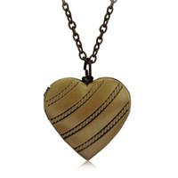 Wholesale Ancient Heart - Heart Photo Box Locket Pendant Necklace Vintage Ancient Diagonal stripes Love Heart Necklaces Women Men Fashion Jewelry