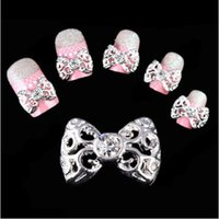 Wholesale 3d Clear Alloy Rhinestones Bow - Wholesale- New 2015 Lot 10Pcs 3D Clear Alloy Bow Tie Nail Art Glitter Slices Glod Sliver Diy Bowknot Nail Rhinestone NA514