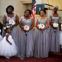 Wholesale grey african lace - 2017 Sliver Grey African Plus Size Chiffon Bridesmaid Dresses Beads Lace Appliques Bridesmaids Gowns Long vestido madrinha