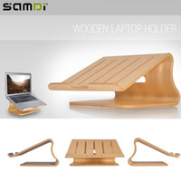Wholesale Wood Ipad Holder - Wholesale- SAMDI Protable Wooden Laptop Holder Wood Radiator Stand Support Desk for MacBook iPad Notebook Computer