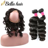 3 adet brazilian saç uzatma toptan satış-Brezilyalı Saç Örgüleri Demetleri Virgin İnsan Saç Uzantıları Doğal Renk Saç Atkı Gevşek Dalga Bellahair 8A 3 adet