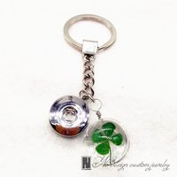 Wholesale Glass Pillar Plates - 18mm Interchangeable Snap Button Metal Keychain Pendant Real Dried Flower Glass Crystal Ball Key Chain Key Ring Jewelry Gifts