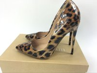 Top Quality 8/10 / 12cm Women Red Bottom Pumps Nova Moda Leopard Color Pointed Toe High Heel Wedding Shoes Ultra Thin High Heel With Box