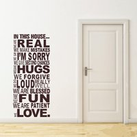 Wholesale Family Wall Quotes Large - Free Shipping Large Size Family House Rules Quotes And Sayings Stickers Wall Decal Removable Art Vinyl Wall Sticker Home Decor